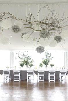 Items similar to 14 Medium Poms, White Gray Wedding Anniversary, Rehearsal Dinner Decoration Ideas, Silver Winter Wedding, Holiday New Year Decorations on Etsy - Modern