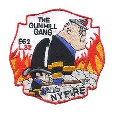 "Engine 62 / Ladder 32 ""Gun Hill Gang"" Patch in New York Firefighter Decals, Firefighter Shirts, Volunteer Firefighter, Fire Dept, Fire Department, Cool Fire, Fire Signs, Custom Patches, Firetruck"