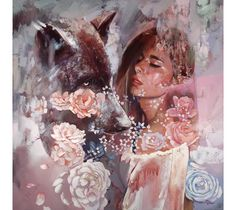 Gracious  features a portrait of a beautiful young woman and a bear. by Dimitra Milan