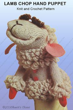 INSTANT DOWNLOAD PDF Vintage Lamb Chop Glove Puppet - Copy of the Original 1975 Patons Pattern for Knit and Crochet via Etsy