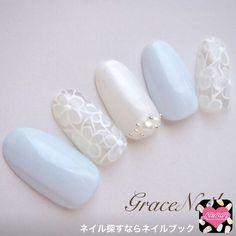 ネイルデザイン人気ランキング ネイルブック in 2020 Blue Wedding Nails, Wedding Nails For Bride, Bride Nails, Love Nails, Pretty Nails, Japan Nail Art, Light Blue Nails, Kawaii Nails, Neutral Nails