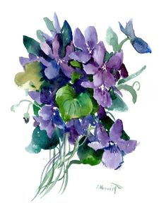 Buy Wild Violet Flowers, Watercolor by Suren Nersisyan on Artfinder. Discover thousands of other original paintings, prints, sculptures and photography from independent artists. Watercolor Flowers, Watercolour, Paper Tags, Lovers Art, Buy Art, Original Paintings, Floral Wreath, Sculptures, Artists