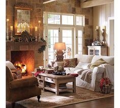 lovely simply decorated for the holidays room - wish i had a fireplace and stone wall