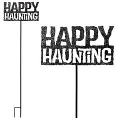 """Happy Haunting Stake / Sign by Garden Fun. $16.99. Show your holiday spirit to all your neighbors and friends with our new Happy Haunting Garden Stake! This hand crafted metal garden art makes a wonderful addition to your Halloween home and garden. Place this tall 44"""" stake right in the middle of your lawn,, or detach the sign from the garden stake and hang directly onto your door, fence or entrance walkway wall. Spooky and simple like a creepy black shadow, ge..."""