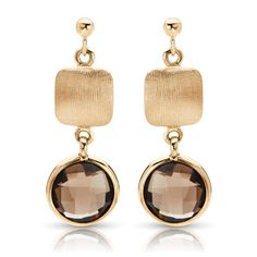 Matte Finish Charm / Smokey Quartz Dangle Earrings in 14k Yellow Gold