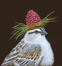 Raspberry-hatted bird by Vicki Sawyer, 10th Annual Tomato Art Fest