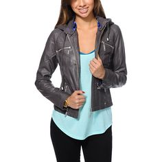 Step up your style with a sleek look in the Jou Jou Charcoal Grey faux leather jacket for girls. Made with a vegan leather construction, this jacket from Jou Jou is built with a removable sweatshirt hood and a satin lined interior, so you are sure to stay trendy no matter what the season brings.