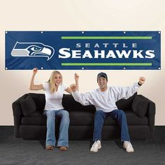 Seattle Seahawks NFL 8' x 2' Applique Embroidered Team Banner Flag