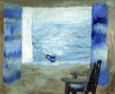 View through a Window with Blue Curtains and a Chair by Winifred Nicholson, c.1960