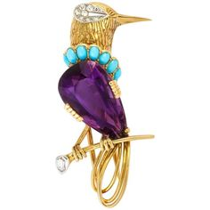 Cartier Paris Turquoise Amethyst Diamond Gold Bird Brooch   From a unique collection of vintage brooches at https://www.1stdibs.com/jewelry/brooches/brooches/ #GoldJewelleryBirdOfParadise