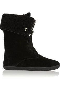 Burberry Shoes & Accessories Shearling-lined suede ankle boots | NET-A-PORTER