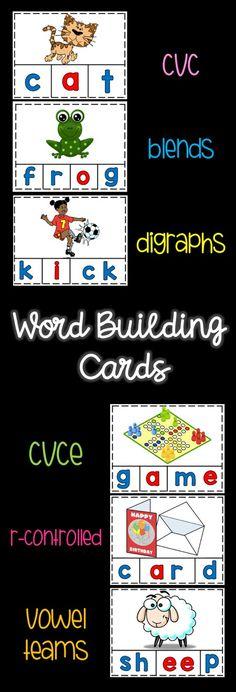 Word Building Cards-word work-cvc-blends-digraphs-cvce-rcontrolled-vowel teams Teaching Kindergarten, Teaching Phonics, Teaching Ideas, Preschool, Cvce Words, Blends And Digraphs, Word Building, Word Work, Teacher Resources