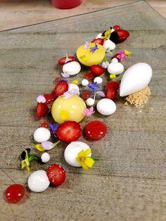 Antonio Bachour : Lemon Cremeux, Greek Yogurt Panna Cotta, Strawberries and Greek Yogurt Sorbet