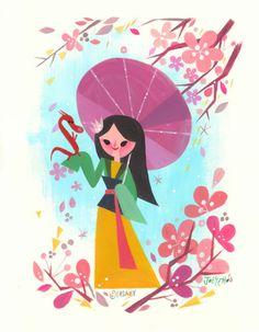 "Disneyland Postcard - WonderGround Gallery - ""Mulan"" by Joey Chou Disney Pixar, Arte Disney, Disney Girls, Disney And Dreamworks, Disney Cartoons, Disney Style, Disney Love, Disney Princess, Disney Characters"