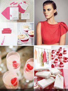 Colour palette: strawberries and cream.