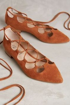 Billy Ella Lace-Up Flats Brown 9 Flats • Anthropologie • #Brown #TheBrownBoard #Inspiration #Beautyinthebag