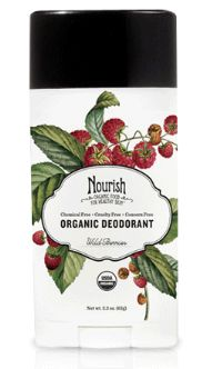Nourish Organic Deodorant in Wild Berry (or four other scents), looks like a traditional deodorant but is non-toxic and USDA Organic certified.