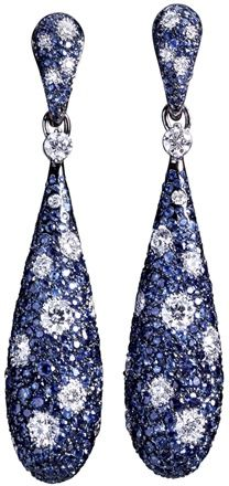 Crivelli The Penalty of Contrasts earrings paved with sapphires and diamonds. Photo courtesy press office