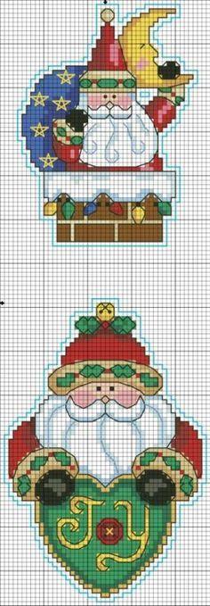 Punto croce per Natale: Happy Critsmas Santa Cross Stitch, Counted Cross Stitch Patterns, Cross Stitch Charts, Cross Stitch Designs, Cross Stitch Embroidery, Cross Stitch Christmas Ornaments, Christmas Embroidery, Christmas Cross, Santa Ornaments