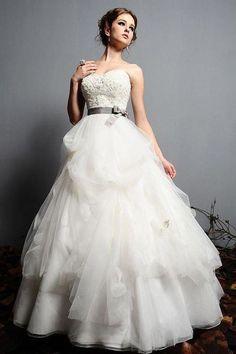 Grey Ribboned Wedding Gown