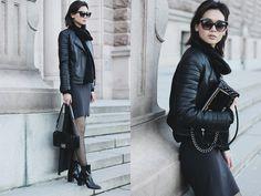 Miu N - Rodebjer Knit, Mango Jacket, Chanel Bag, Weekday Dress, Zara Boots, Cubus Sunglasses - All Black Friday