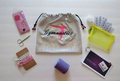 Gymnast hand rip care kit includes GYMNASTICS GRIP bag & pre-wrap,scissors,hand care booklet,manicure kit, w/ hair ties Birthday gift *SALE*
