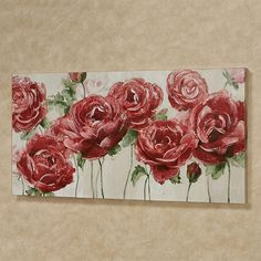 The Garden of Roses Canvas Wall Art features dark red and scarlet floral blossoms with green stems on a linen-colored background. Watercolor Art, Roses Painting Acrylic, Acrylic Flowers, Rose Wall, Floral Wall Art, New Wall, Metal Wall Art, Flower Art, Canvas Wall Art