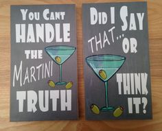Home decor typography art block prints . Decor for home bar. 6 x 10.5 inch art blocks Ready to hang word art in black and white. Martini art