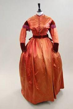 1865 copper satin, velvet trim - has 2 bodices