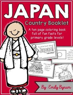 """This """"All About Japan"""" booklet can be used for a very basic country study in lower elementary grades! Each page contains a basic fact and related illustration. All graphics are in an outline format so that it's ready to be colored like a mini-coloring book.This coloring booklet gives all the general/basic information about Japan, including:-geography (islands in the Pacific Ocean)-Japanese flag-capital city of Tokyo -popular Japanese foods-traditional architecture-volcanoes-ancient warriors…"""