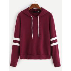 Burgundy Varsity Striped Drawstring Hooded Sweatshirt found on Polyvore featuring polyvore, women's fashion, clothing, tops, hoodies, majice, burgundy, pullover hoodies, long sleeve tops and long sleeve hooded sweatshirt