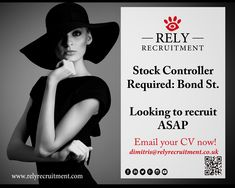 Stock Controller required for luxury retailer in Bond Street : Full time (5 days a week).   Email your cv to dimitris@relyrecruitment.co.uk Looking to recruit ASAP Interviews to be arranged next week!