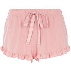 Dorothy Perkins **DP Lounge Pink Ruffle Edge Shorts (29 AUD) ❤ liked on Polyvore featuring pink and dorothy perkins