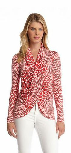 Karen Kane Red Optic Cross Over Top #Karen_Kane #Red_and_White #Geometric  #Fashion