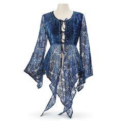 Blue Velvet and Lace Jacket - Women's Clothing & Symbolic Jewelry – Sexy, Fantasy, Romantic Fashions