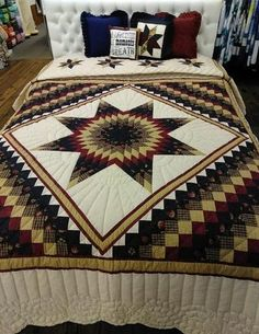 All of our quilts are made by Amish & Mennonites and are hand quilted. Many hours have gone into each quilt to create a one of a kind design . Lone Star Quilt Pattern, Bargello Quilt Patterns, Bargello Quilts, Star Quilts, Quilt Blocks, Blanket Patterns, Quilting Patterns, Quilting Ideas, Man Quilt