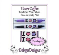 Bead Pattern Peyote(Pen Wrap/Cover)-I Love Coffee | DebgerDesigns - on ArtFire