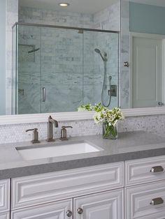 Bathroom with grey countertop. Bathroom grey countertop ideas. #Bathroom #