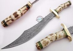 "17.75"" Custom Hand Made Beautiful Damascus Steel Bowie Knife (1010-2) #UltimateWarrior"