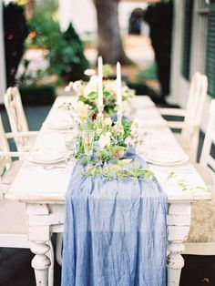 gauzy table runner - photo by Ashley Slater Photography http://ruffledblog.com/musical-flowing-wedding-inspiration