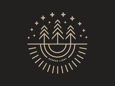 Spread Light sneak peak by Beth Sicheneder // Cream on grey modern logo design, using simple lines to depict three trees under the stars / sky, with roots underneath | Branding | Vintage | Camping | Camp Site | Forest