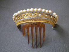 Old jewelry crown tiara comb diademe pearl nacre opline bronze empire 19è   Art, antiquités, Objets du XIXe et avant   eBay!