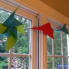 Pinwheel and paper plane birthday banner/garland
