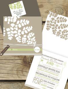 Rustic fern invitation. Lilykiss wedding invitation