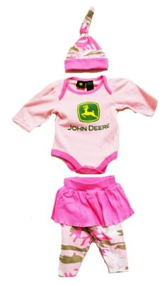 John Deere Baby Girls 3 Piece Layette Set Pink Camo