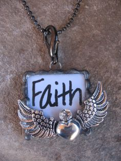 This soldered Faith pendant has the popular heart angel wing charm soldered to it!  A little bling to give it a little sparkle! ($15.00) www.nanettemc.etsy.com