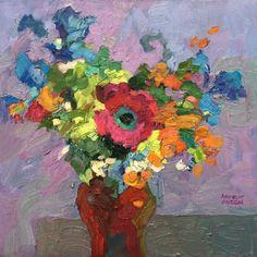 Larisa Aukon, Flirt by Larisa Aukon, Oil, 12 x 12 Abstract Example, Paintings I Love, Flower Paintings, Oil Paintings, Plant Painting, Abstract Flowers, Old Art, Tree Art, Fine Art Gallery