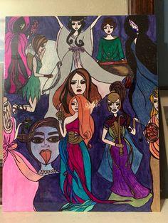 A Gathering of Goddesses One of a Kind Glazed Art Panel Persephone, Aphrodite, Panel Art, Artemis, Goddesses, Spiral, Snake, Draw, Canvas