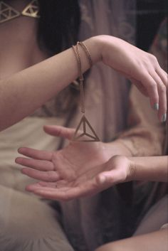 The Alistair Necklace - hand-cut brass geometric triangle pendant