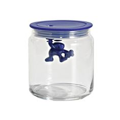 Gianni a little man holding on tight, Kitchen box with hermetic lid, designer Mattia Di Rosa by Alessi Glass Storage Jars, Food Storage Containers, Jar Storage, Glass Containers, Glass Jars, Kitchen Storage, David Jones, Short Glass, Kitchen Jars